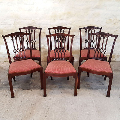 Chippendale Gothic Revival Carved Mahogany Set of 6 Dining Chairs Late C19th