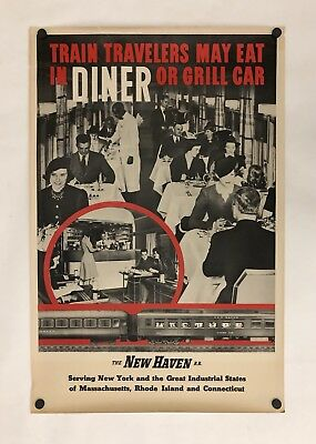 Original Vintage Poster NEW HAVEN RAILROAD - DINER OR GRILL CAR Railway Travel