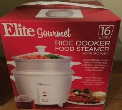 Elite Gourmet Rice Cooker Food Steamer 16 Cup Model ERC-008ST NEW IN BOX