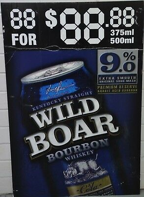Wild Boar Bourbon Whiskey & Cola Cans Brand New Advertising Corflute Sign