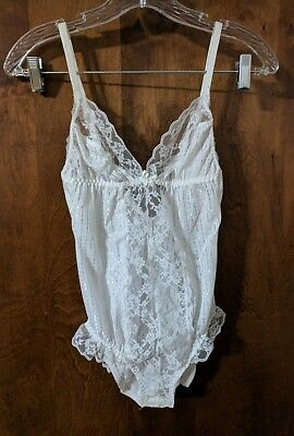 Vintage Sasson White Lingerie Teddy One Piece Snap Crotch Size 34
