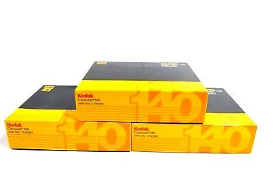Lot of 3 Kodak Carousel Transvue 140 Slide Trays with Index Cards and Rings