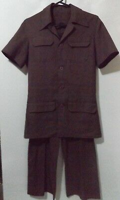 70's SAFARI JACKET VINTAGE PANTS SUIT SIZE SMALL DISCO BROWN AUSTRALIAN MADE