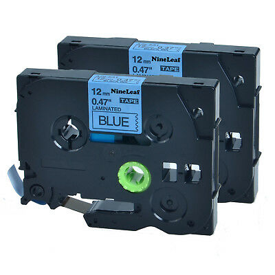 """2 PK TZ531 Black on Blue12mm 0.47"""" Label Tape TZe531 for Brother P-Touch PT-1880"""