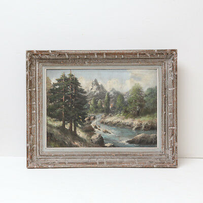 French 19th-Century Continental Alpine Landscape Painting, Antique Oil on Canvas