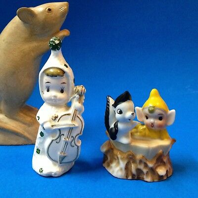Vintage Pixie Elves-  Retro Kitsch Porcelain Figurine - Made in Japan