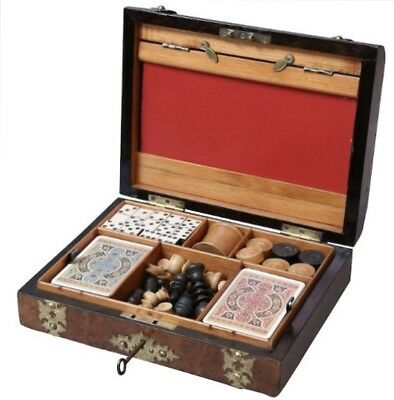 Antique English Walnut Games Box Compendium, Chess, Draughts, Dominoes, Dice