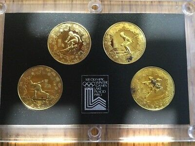 1980 CHINA Lake Placid WINTER OLYMPICS GAMES 4 BRASS YUAN PROOF COINS SET-(1)