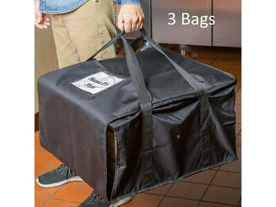 """(3 Pack) 20"""" x 20"""" x 12"""" Black End Load Nylon Insulated Pizza Delivery Bags"""