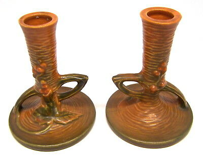 Lovely Pair ROSEVILLE BUSHBERRY Russet 1148 Candle Holders