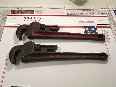 Two Vintage 18 inch Rigid Pipe Wrenches Heavy Duty- USA