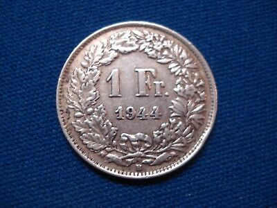 SILVER - 1944 Switzerland 1 Franc - World Silver Coin