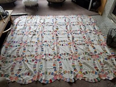 """Vintage Double Wedding Ring QUILT TOP; Hand Stitched; 82"""" x 98"""" New yet vintage!"""