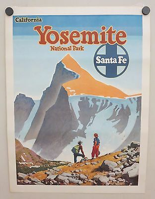 Original Vintage Poster SANTA FE RR - YOSEMITE NATIONAL PARK Railroad Travel