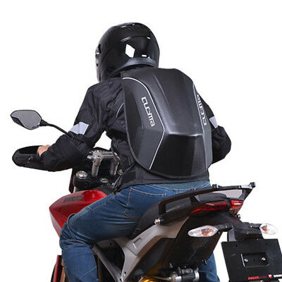 Highway Tight Carbon Fiber Look Hard Shell Motorcycle Rider Stealth Backpack Bag