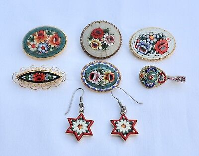 Vintage Lot Six Micro Mosaic  Brooches And One Pair Of Earrings