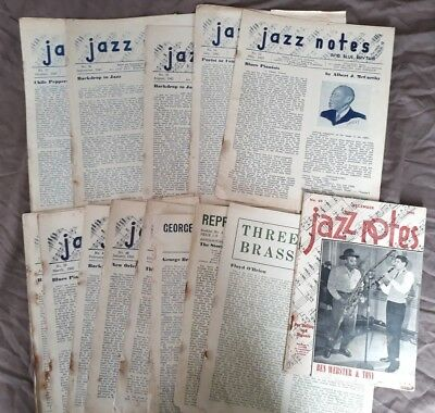 14 Issues of JAZZ NOTES & Jazz Booklets 1944-46. Rare Australian Jazz Mags