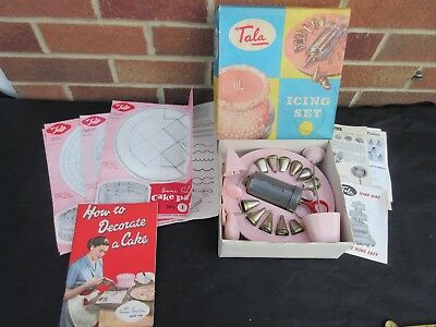 Tala 1730 Cake Icing Set Cw Extras & Literature Vtg Flower Nails Turntable Etc
