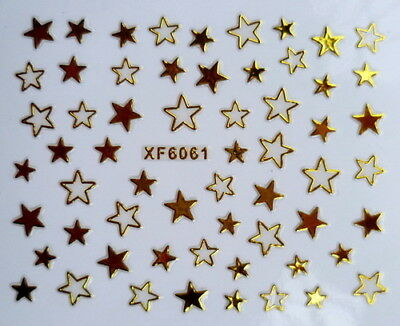 Gold Star Solid & Hollow 3D Nail Art Stickers XF6061