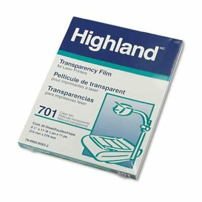 Highland Laser Transparency Computer Graphics Film, Clear, 8 1/2 x 11, 701 3M