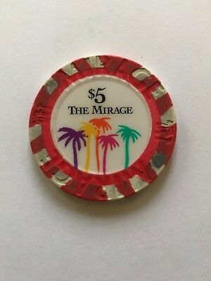 The Mirage Casino Chip $5 Las Vegas Souvenir Near Mint condition