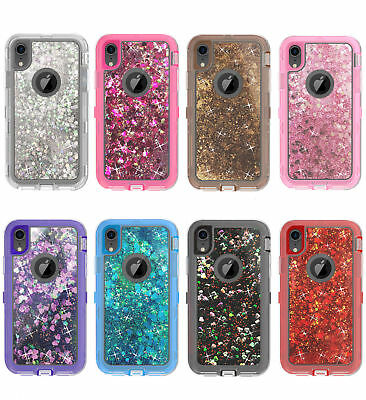 For iPhone XR / XS MAS Shockproof Defender Glitter Liquid Case Fit Otterbox Clip