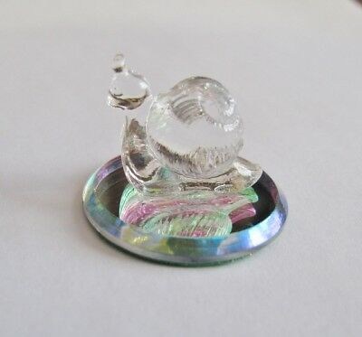 Miniature Ornament made with Vintage Swarovski Crystal Snail on 28mm Disc