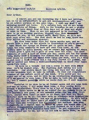 World War I Soldier's Typed Letter to Friend Trench Life The Great War 1914-1918