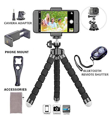 Phone Tripod Stand Octopus Adjustable Holder with Universal Clip and Remote for