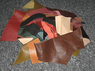 90g OF LEATHER SCRAPS & OFF CUTS ALL SHAPES AND SIZE / MIXED COLOURS