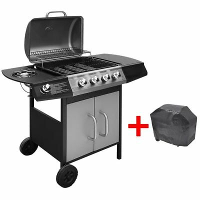 Gas Barbecue Grill BBQ 4+1 Burners w/ Cover Black Outdoor Garden Patio Portable