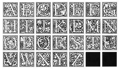 60 pt. CLOISTER INITIALS — Brand New Cast in Monotype Metal — Complete Alphabet