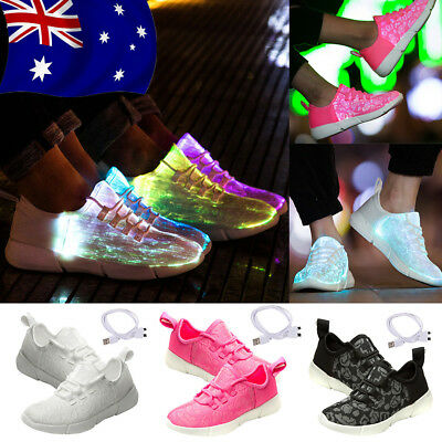 Women Men Light Up USB Charging LED Shoes Flashing Sneakers Trainers Shoes AU!