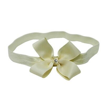 Ivory Double Bow With Swarovski Diamante on Baby Girl Headband Hair Elastic Nylo