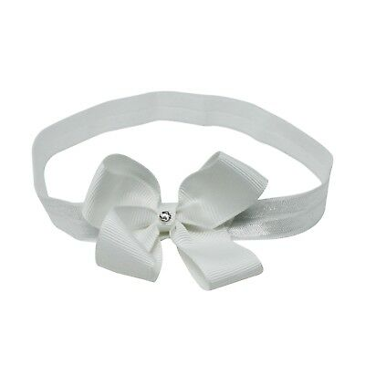 White Double Bow With Swarovski Diamante on Baby Girl Headband Hair Elastic Nylo
