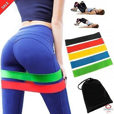 RESISTANCE BANDS Fitness Workout Loop Set Crossfit Yoga Booty Exercise Band 5 Pc