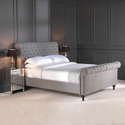New Grey Premium Linen Chesterfield Upholstered Bed Double King Super King