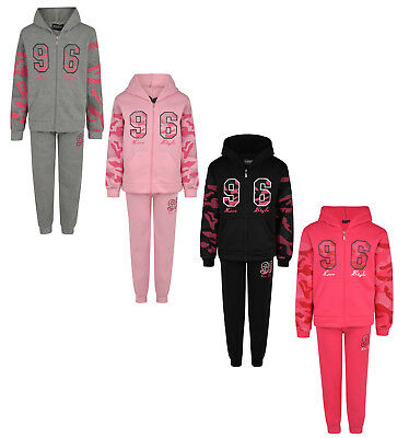 Kids Girls Tracksuit Jog Set Love Style 96 Full Zip Hooded Top & Joggers Bnwt