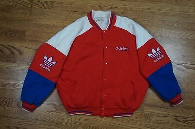 Rare Vintage ADIDAS Trefoil Logo Spell Out Button Varsity Jacket Sweatshirt 90s