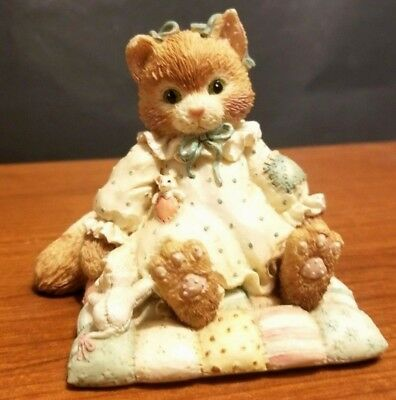 """1992 Calico Kittens Resin Figurine """"You'll Always Be Close To My Heart"""" C15/095"""