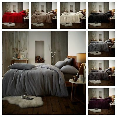 New Teddy Fleece Luxury Duvet Covers Cosy Warm Soft Bedding Sets Fitted Sheets