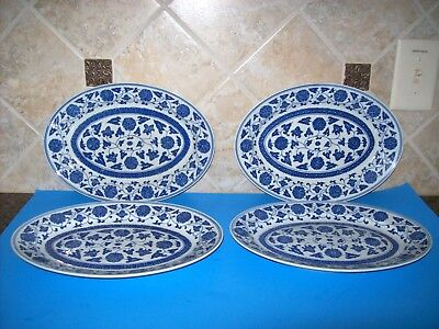 """Vintage Chinese Porcelain Blue and White Plates Platers Set of 4  (12"""" x 8.5"""")"""