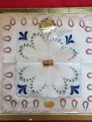 2 Embroidered Floral Hankies Handkerchiefs Cotton Switzerland Vintage With Tags