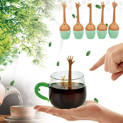 Herbal Spice Holder Funny Hand Gestures Tea Infuser Silicone Strainer
