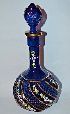 Vintage Genie Blue Glass Decanter Bottle with Stopper Gold Guilt Painted Flowers