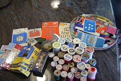 Sewing Notions Lot As Pictured Thread, Zippers, Hooks, Buttons, Etc Many Vintage