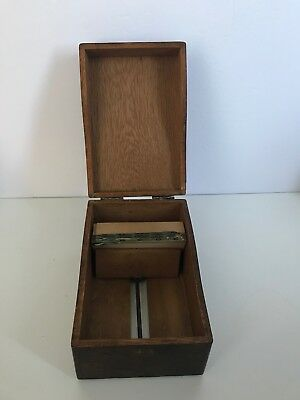 Vintage WEIS Wooden Index File Recipe Card Box Finger Joint ORIG CARDS UNUSED