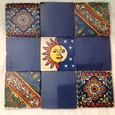 """Vtg LOT of 9 CLAY MEXICAN TILES -  4"""" - TALAVERA TYPE PATTERNS -PROJECT READY!"""