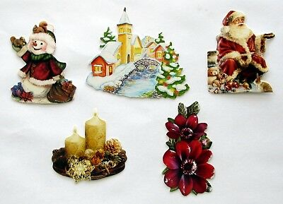 3D Easy Die Cut Card Toppers Christmas Candle Santa Snowman Scene Flower Type 20
