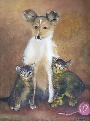 Vintage ORIGINAL painting of dog and cats..sheltie..canvas, framed..so great!